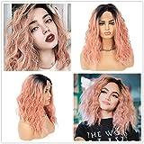 Parrucca sintetica a caschetto corto, con pizzo frontale, 2 tonalità, radici scure, colore rosa pastello, senza colla, capelli ondulati, resistenti al calore, riga centrale, 35,6 cm