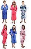 Betz Kinder Bademantel mit Kapuze Kinderbademantel Kids Comfort gestreift oder Uni in den Farben: blau und pink Größe 128 - pink gestreift