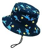 Chapeau de Seau à Bords Larges avec mentonnière Bébé Garçon Boonie Chapeau de Pêche Contre Soleil Réglable à Corton d'ajustement,Bleu (Petit Dinosaures),48cm(1-2ans)