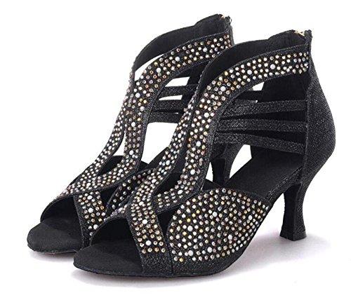 Scarpe da donna Tacco svasato Danza Suola morbida Samba moderno Pompe latine Taglia 36To41 Black