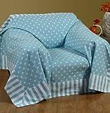Homescapes Dekorativer Überwurf Stars blau 150 x 200 cm für Sofa oder Bett Tagesdecke Plaid aus 100% reiner Baumwolle