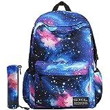 G-i-Mall Unisex Galaxy School Backpack Canvas Backpack Laptop Book Bag Galaxy Leisure School Rucksack Satchel Hiking Bag (Blue-2)