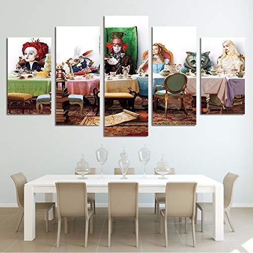 xzfddn Hd Gedruckt Wandkunst Wohnzimmer Leinwand Bilder Moderne 5 Panel Animation Charakter Malerei Modulare Poster Wohnkultur 20X35/45/55Cm,No Frame