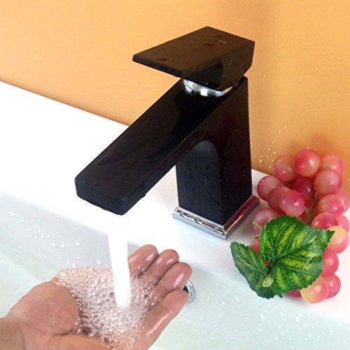 Hlluya Wasserhahn für Waschbecken Küche Platz Kupfer Farbe sprayfarbe heiße und kalte abgesenkt Schminkbereich mit Waschbecken Wasserhahn Schwarz