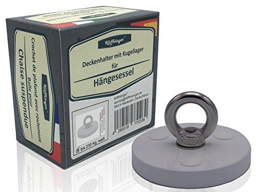 Deckenhalter / Deckenschraube mit Kugellager für Hängesessel | bis 230 KG | Eloxiert, Weiß oder Edelstahl