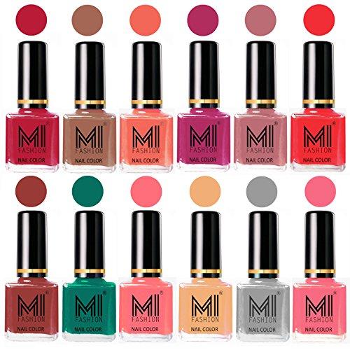 MI Fashion® 12 Luxury Different Nail Polish Shades High Quality Combo Set-Magenta,Dark Nude,Peach,Plum,Nude Spring,Coral,Tan,Sea Green,Pink,Nude,Grey,Pink