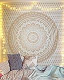 Indisch Psychedelic Gold Wandteppich Mandala, Elefant Boho Wandtuch Hippie,indischer weiß Golden Wandbehang Mandala Tuch, groß Indien Baumwolle Bohemian Wand tucher Mandala,Weihnachten Geschenk