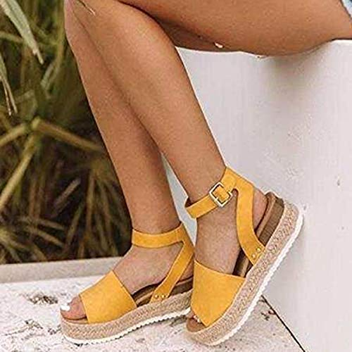 Large Size Leopard Sandals Female European and American Thick Bottom Hemp Braided Belt Ladies Sandals Yellow 37