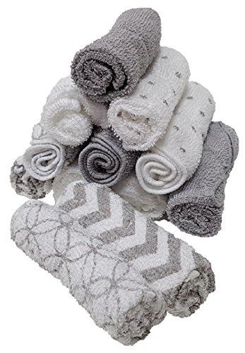 Waschtücher Baby Waschlappen Handtücher 10 oder 12 Stück. Ideal Geschenkset. (12 er Pack Grau)