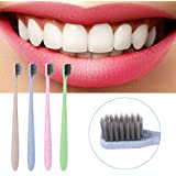 Estink 4pcs Box Natural Wheat Straw Toothbrush With Bamboo Charcoal Soft Colorful Toothbrush Oral Health Care...