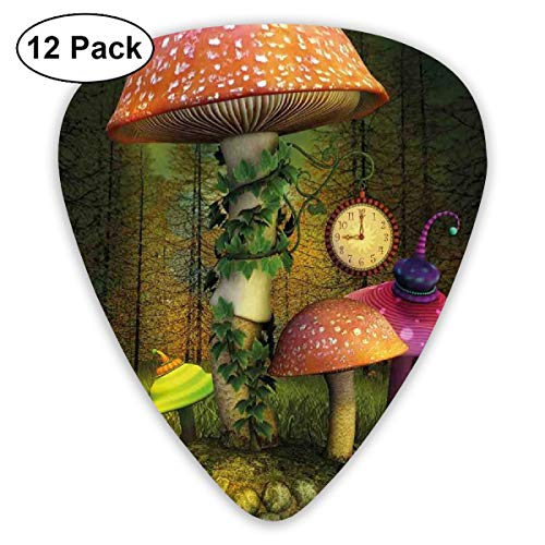 Guitar Picks 12-Pack,Fiction Forest With Giant Mushrooms And Elves In Magical Fairytale Enchanted Theme Image