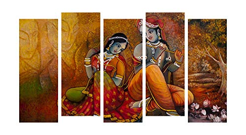 Paper Plane Design Photo Frames for Wall Decoration Radha Krishna View Picture Split Panels Art Decor Set of Paintings in Living Room Bedroom Hotel Office, Sun-Board, Size 32 x 60 inches, 5 Frame