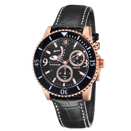 Thomas Earnshaw ES-8008-03 - Reloj para hombre con esfera analógica de color negro y correa de cuero negra