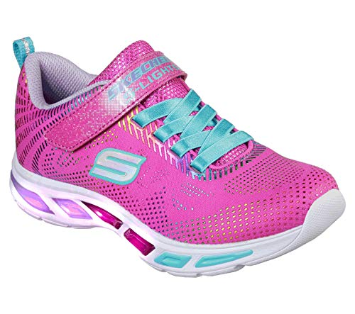 Skechers Litebeams-Gleam N'dream, Zapatillas para Niñas, Rosa (Neon Pink/Multi Npmt), 32 EU