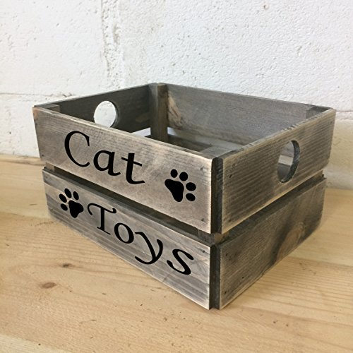 """Geschenkbox, mit Aufschrift """"Cat Toys"""" in engl. Sprache, rustikale, graue Geschenkkiste (Display-box Eiche)"""