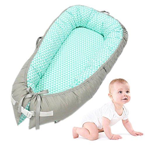 AOLVO Riduttore Lettino Baby Nest Pod Riduttore Lettino Neonato Antisoffoco Riduttore per Letto Culla Multifunzionale Imita Grembo di Madri 100% Cotone,per Bimbi 0-24 Mesi,80x50cm,Blu e Grigio