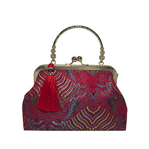 Felicove Damen Brieftaschen, Fashion National Style Stickerei Tasche Elegante Tassel Clip Umhängetasche -