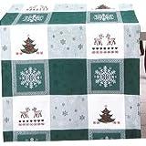 Decoración Navideña Mantel verde de color blanco para bordar