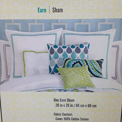 trina-turk-palm-spring-block-400t-cotton-solid-white-w-turquoise-blue-embroidered-trim-euro-sham-new