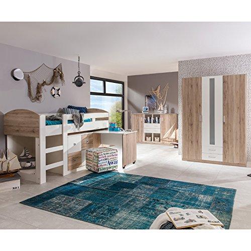 Wimex 326238 Hoch-/Kinderbett, Holz, san remo eiche Nachbildung / Absetzungen alpinweiß, 204 x 98 x 127 cm - 3