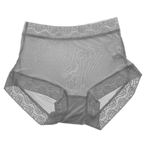 Gazechimp Damen Unsichtbar Nahtlos Weich Tanga Unterwäsche Unterhose Hipster Slip Aus 100% Reiner Seide Grau