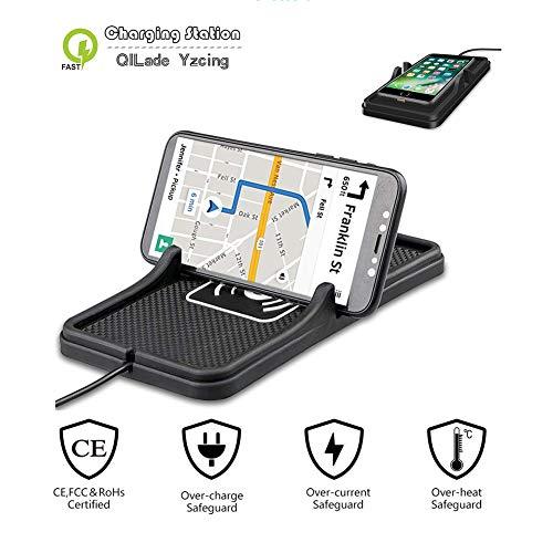 Funk-Kfz-Ladegerät 2 in 1 Armaturenbrett-Matte mit QI Fast Charge Nicht Beleg-Silikon-Auflage-Auto-Einfassungs-Telefon-Halter für iPhone X, iPhone 8, iPhone 8 Plus, Samsung Galaxy S9 / S8 / S7E