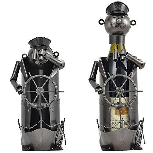 [en.casa] Flaschenhalter Kapitän Weinhalter Geschenk Weinflaschen-Halter Wein Ständer - Perfektes Weihnachtsgeschenk