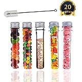 Tubos de ensayo de plástico con tapas, 20 tubos de muestra con tapas de 40 ml con 1 cepillo de limpieza para tubos