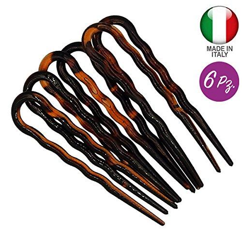 298-003 - Set 6 Pièces épingles à cheveux ondulées cm 7 Made in Italy - Pinces épingles à cheveux et accessoires chignon - Couleur tortue