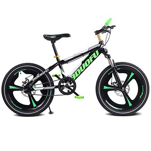 MTCTK Kinderfahrrad 16/18/20 Zoll Magnesiumlegierung Student Mountainbike Scheibenbremsen schockierend Singlespeed-Fahrrad,Green,18Inch