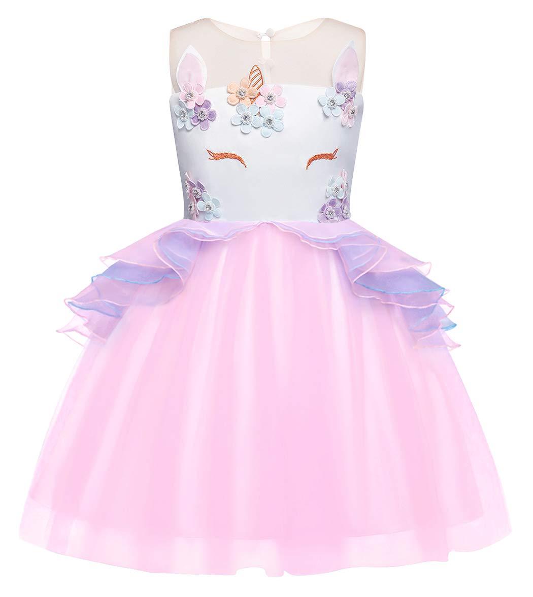 AmzBarley-Girls-Unicorn-Party-Dress-Tulle-Flower-Princess-Dress-Kids-Halloween-Birthday-Evening-Pageant-Fancy-Dress-Up-Outfits