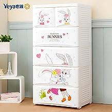 Cómoda infantil blanca con dibujos de conejos, para la habitacion de tu bebé con 4 cajones grandes y 2 cajones pequeños, material de polipropileno , plástico