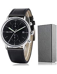 Keller y Weber elegante de los hombres relojes impermeable delgado luminoso Chronograh deporte FECHA reloj de