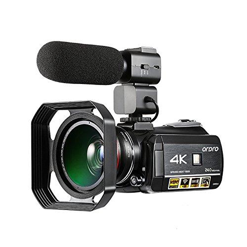 Caméscope 4K, Caméra vidéo numérique Ultra-HD Ordro 4K avec microphone externe, grand angle et Parasoleil / Caméscope IR Vision nocturne 24MP Wifi 60fps par Emperor of Gadgets® (Ensemble complet)