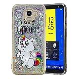 HopMore Glitzer Silikon Handy Hülle für Samsung Galaxy J6 2018 Hülle 3D Flüssig Transparent Muster Kreativ Lustig Schutzhülle Durchsichtig Handyhülle Stoßfest Silikonhülle Case Cover - Weiße Katze