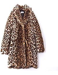Logobeing Chaqueta Suéter Abrigo Jersey Mujer Invierno Talla Grande Moda de Mujer Cálido Vintage Animal Estampado de Leopardo Chaqueta de Piel Sintética Capa Outwear