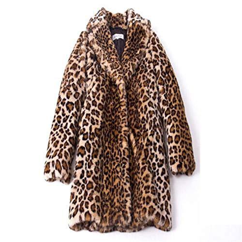 Womens Jacke Leopard Print Kunstpelz Winter Revers Wollmantel Trench Langarm Mantel Outwear Damen Slim Parka Trenchcoat PelzmäNtel Daunenjacke Winterjacke ()