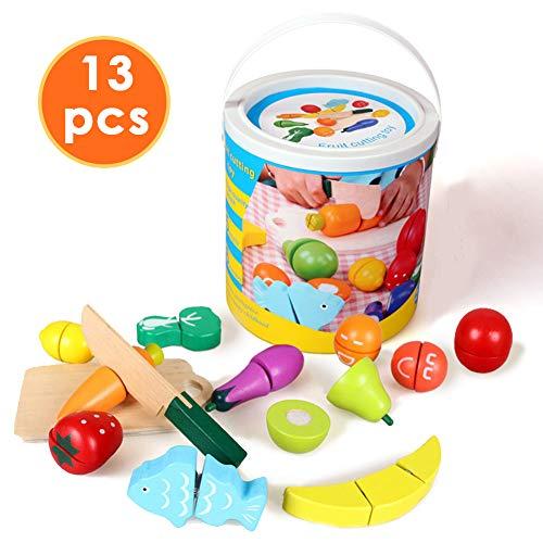 HERSITY 13 Stück Holz Schneiden Obst und Gemüse Spielzeug mit Eimer Lebensmittel Kinderküche Küchenspielzeug für Kinder (Holz Stücke Schneiden)