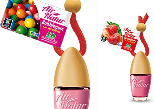 2 Stylisch-modische Air Natur Little Bottle Duftflakons Lufterfrischer Auto- und Raumduft 6ml - Duftsorte Bubble Gum - Kaugummi + Strawberry - Erdbeere