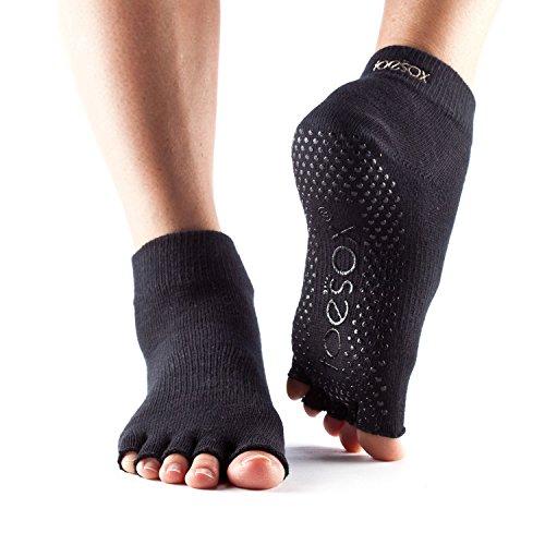 Calcetines ToeSox con media puntera en el tobillo para calcetines de yoga, pilates y barre fitness (Black, Small)