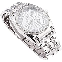 Techno Trend Men's Silver Plated Clear Stones Iced Out Dome Lens Japanese Quartz Movement Hip Hop Bling Watch + Bracelet