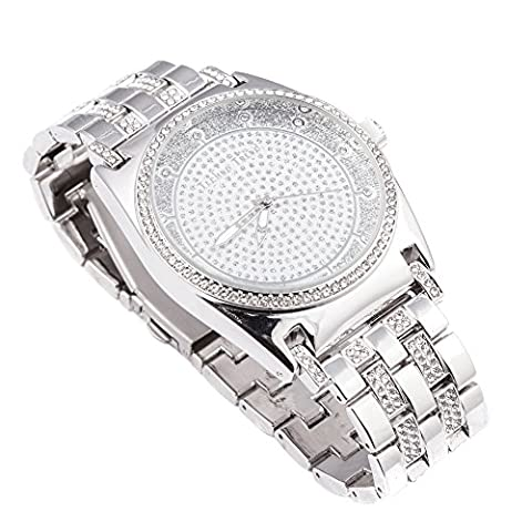 Techno Trend Men's Silver Plated Clear Stones Iced Out Dome Lens Japanese Quartz Movement Hip Hop Bling Watch +