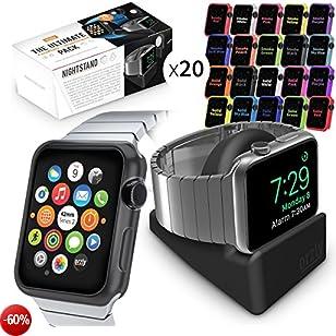 Accessori per 38mm Apple Watch Series 3, Multi-Confezione di 20 Cover frontali intercambiabili Protezioni in Gel di Silicone per APPLE WATCH (Versione da 38mm - SERIE 3 & SERIE 2) - COMPRENDE ANCHE ORZLY NIGHT-STAND NERO