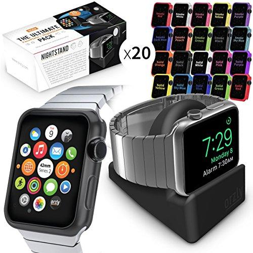 Apple Watch Serie 3, ULTIMATE PACK de Orzly para Apple Watch Serie 3 & Serie 2 (42MM) – Incluye Stand de Orzly y 20 FacePlates [Fundas Protectoras para el Apple Watch 3] en varios colores