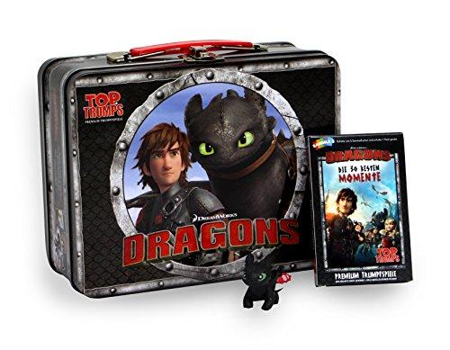 Winning Moves 62233 Reise-und Kompaktspiel Top Trumps Dragons Kidsbox-Das Premium Trumpfspiel mit exklusiver Drachenfigur Ohnezahn
