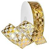 Morex Ribbon 7423.40/50–634French Wired Nylon Schachbrett Folie Band, 11/5,1cm X 50YD, weiß/gold