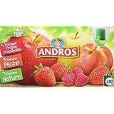 ANDROS Compotes de Fruits en Gourdes 3 Variétés Panachées 10 x 90 g