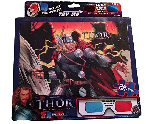 "Marvel 28 piece 3D Puzzle: ""Thor the Mighty Avenger"" 3D glasses included"
