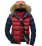Ghope Herren Lange Ärmel Winterjacke mit PelzKapuze Übergangsjacke Outwear Warm Kapuzenjacke Jungen, Rot und blau L