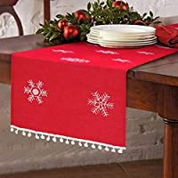 Aparty4u Snowflake Red Christmas Table Runner Table Decor, Christmas Embroidered Table Linens for Christmas Decoration 16 x 72 Inch